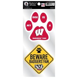 Rico Industries, Inc. Wisconsin Badgers Double Up Pet Themed Die Cut Sticker