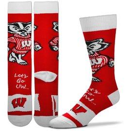 For Bare Feet Wisconsin Badgers Men's Flag Socks Large
