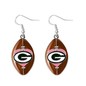 Aminco Green Bay Packers Dangle Earrings - Football with Pink Heart