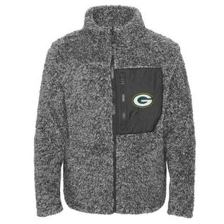Outerstuff Green Bay Packers Girls Fan Gear Teddy Fleece Full Zip Jacket
