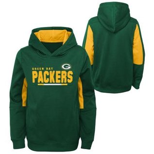 Outerstuff Green Bay Packers Youth Long Season Performance Pullover Hoodie