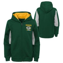 Outerstuff Green Bay Packers Youth Stay Warm Performance Full Zip Hoodie