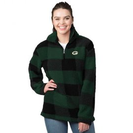 G III Green Bay Packers Women's Plaid Sherpa 1/4 Zip Jacket