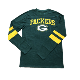 G III Green Bay Packers Men's Long Sleeve Tee With Arm Stripes