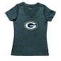 5th &  Ocean Green Bay Packers Women's Poly Spandex Space Dye Short Sleeve Tee