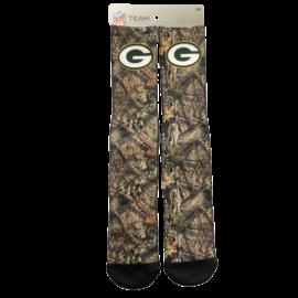 For Bare Feet Green Bay Packers Men's Logo Mossy Oak Socks Large