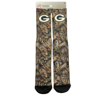 For Bare Feet Green Bay Packers Men's Logo Mossy Oak Socks Large