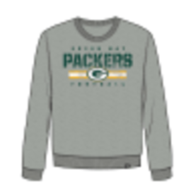'47 Brand Green Bay Packers Men's Grey Stencil Stripe Headline Crew Sweatshirt