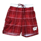 G III Wisconsin Badgers Men's Red Plaid Swim Trunks