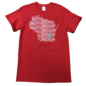 Signature Concepts Wisconsin Badgers Men's Red State Short Sleeve Tee