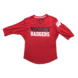 5th &  Ocean Wisconsin Badgers Women's Dolman 3/4 Sleeve Tee