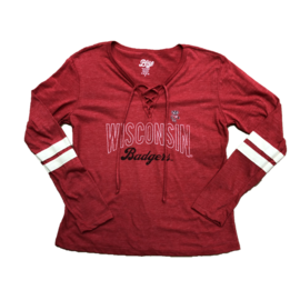 Blue 84 Wisconsin Badgers Women's Lydia Lace Up Crew Long Sleeve Tee
