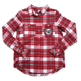Zoozatz Wisconsin Badgers Women's Full Button Flannel Shirt