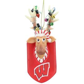 Wisconsin Badgers Resin Reindeer Ornament