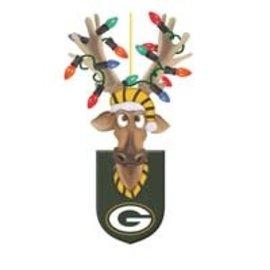 Evergreen Enterprises Green Bay Packers Resin Reindeer Ornament