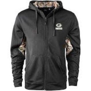 Dunbrooke Green Bay Packers Men's Black and Camo Full Zip Hoodie