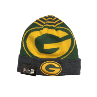 New Era Green Bay Packers Logo Whiz Charcoal Cuffed Knit Hat