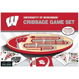 Wisconsin Badgers Cribbage Board  Set with Playing Cards