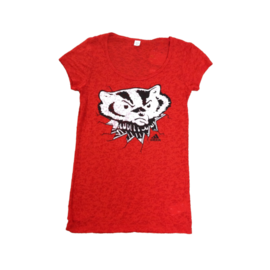 Adidas Wisconsin Badgers Women's Red Short Sleeve Burnout Tee