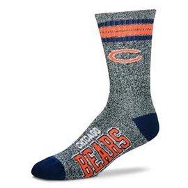 For Bare Feet Chicago Bears Marbled 4 Stripe Duece Socks - Large