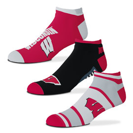 For Bare Feet Wisconsin Badgers Show Me The Money 3 Pack Socks - Medium