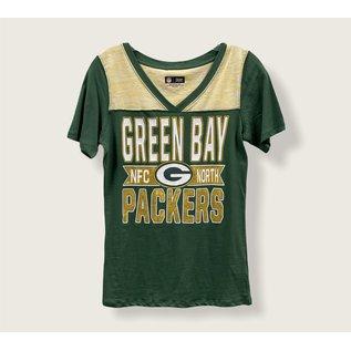 5th &  Ocean Green Bay Packers Women's V-Neck Short Sleeve Tee