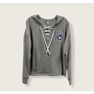 5th &  Ocean Milwaukee Brewers Women's Lace Up With Ball and Glove Logo Pullover Hoodie