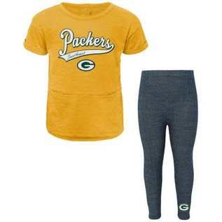 Outerstuff Green Bay Packers Infant Diamond Short Sleeve Top & Leggings Set