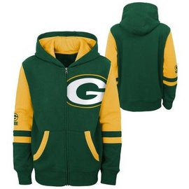 Outerstuff Green Bay Packers Youth Stadium Color Blocked Full Zip Hoodie