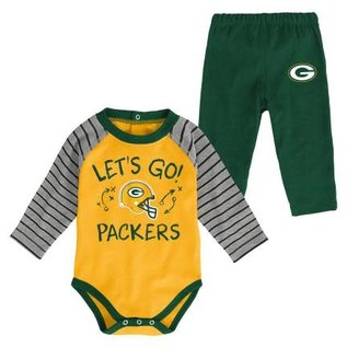 Outerstuff Green Bay Packers Touchdown Long Sleeve Onesie and Pant Set