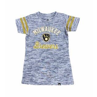 5th &  Ocean Milwaukee Brewers Youth Space Dye Scoop Neck Short Sleeve Tee