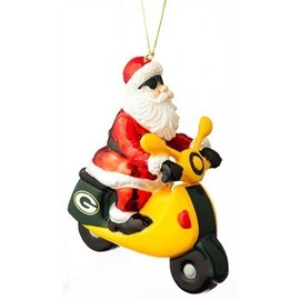 Green Bay Packers Santa Gets There Scooter Ornament