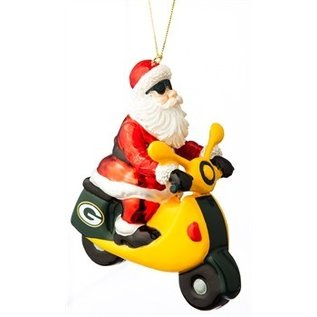 Evergreen Enterprises Green Bay Packers Santa Gets There Scooter Ornament