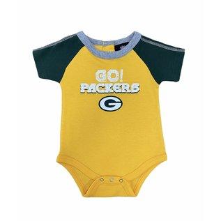 Green Bay Packers newborn yellow onesie with green sleeves