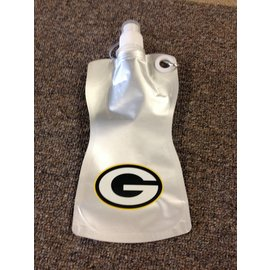 Green Bay Packers Silver Collapsible Water Bottle/Pouch