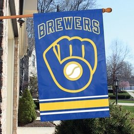 Milwaukee Brewers Applique Banner Flag-Ball and Glove Logo