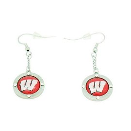 Aminco Wisconsin Badgers Crystal Dangler Earrings