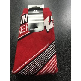 Wisconsin Badgers Tall Red Socks with Diagonal Lines Size Large