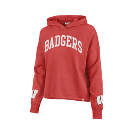 '47 Brand Wisconsin Badgers Women's Racer Red Olivia Ivy Cuff Off Hoodie