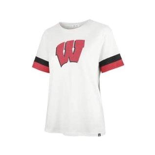 '47 Brand Wisconsin Badgers Women's Sandstone Premier Frankie Sleeve Stripe Short Sleeve