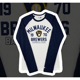 New Era Milwaukee Brewers Men's Raglan Long Sleeve Tee