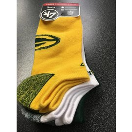 Green Bay Packers Blade No Show 3 Pack Socks Size Large