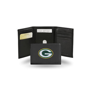 Rico Industries, Inc. Green Bay Packers Black Leather Embroidered Trifold Wallet