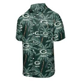 Green Bay Packers Men's Floral Tonal Harmonic Full Button Up Short Sleeve Shirt