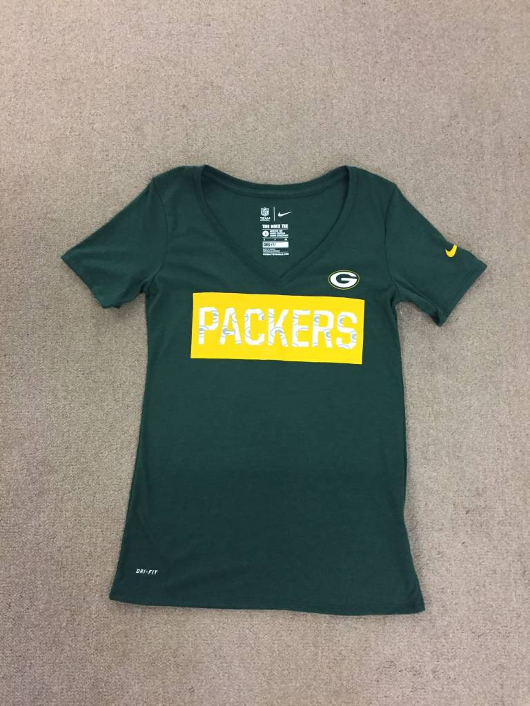 9f44b5e5 Green Bay Packers Women's Green V Neck With Packers in White Short Sleeve  Tee