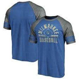 Fanatics Milwaukee Brewers Men's True Classics Sleeve Stripe Triblend Diamond Legacy Short Sleeve Tee