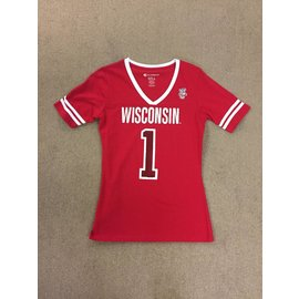 Wisconsin Badgers Women's Red V-Neck Short Sleeve Tee #1 Fan