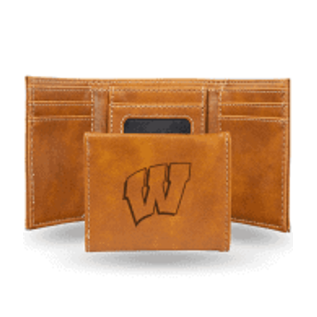 Rico Industries, Inc. Wisconsin Badgers Brown Leather Laser Engraved Trifold Wallet