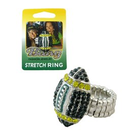 Green Bay Packers Football Rhinestone Ring