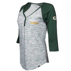 5th &  Ocean Green Bay Packers Women's Space Dye 3/4 Raglan Sleeve Henley Tee